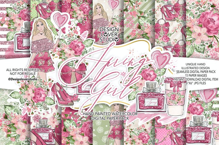 Cover Image For Spring Girl digital paper pack