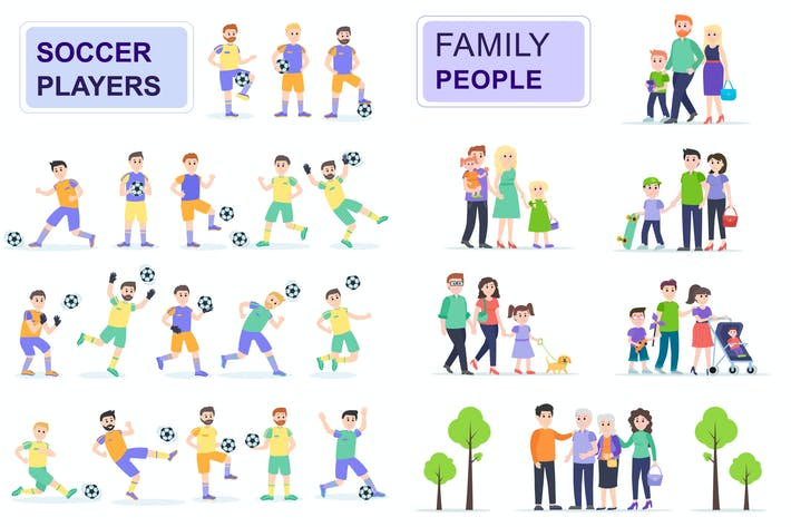 Cover Image For Soccerball and Family Flat People Characters