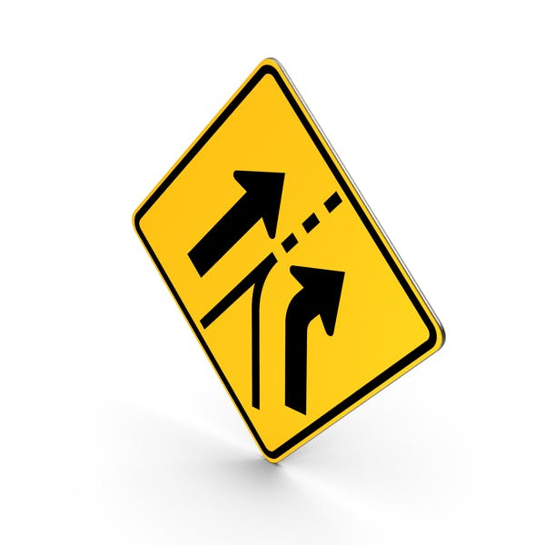 Added Lane From Entering Roadway Road Sign