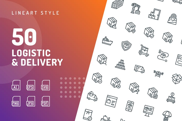 Thumbnail for Logistic Delivery Line Icons
