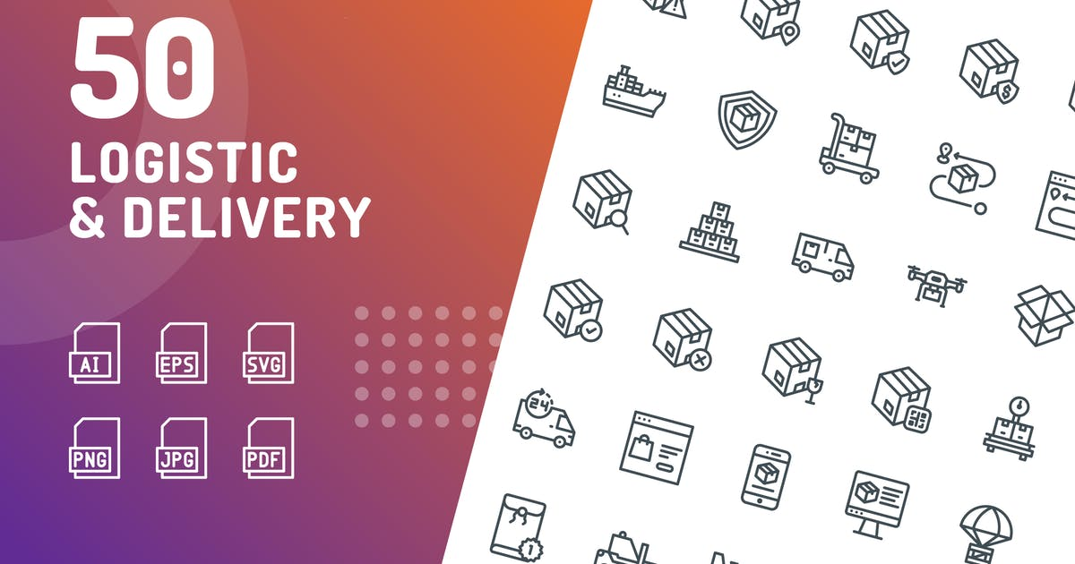 Download Logistic Delivery Line Icons by kerismaker
