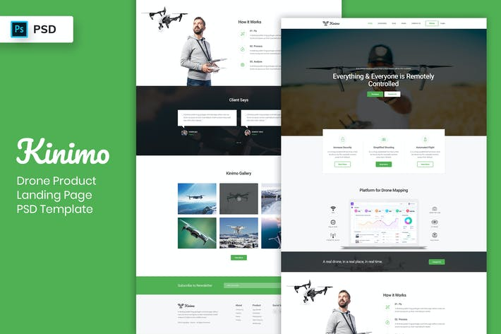 Thumbnail for Drone Product - Landing Page PSD Template-02
