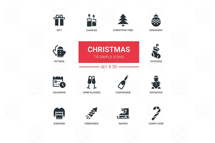 Thumbnail for Holidays theme, Christmas - line design icons set