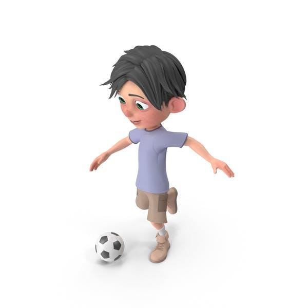 Cartoon Boy Jack Playing Soccer