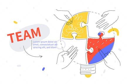 Effiziente Teamarbeit - buntes Liniendesign Banner