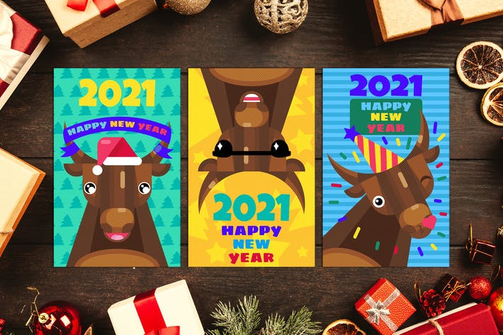 Thumbnail for Happy New Year Greeting Cards Set With Bull
