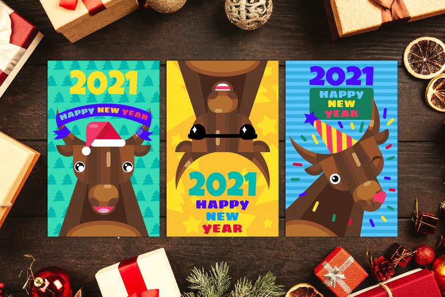 Happy New Year Greeting Cards Set With Bull