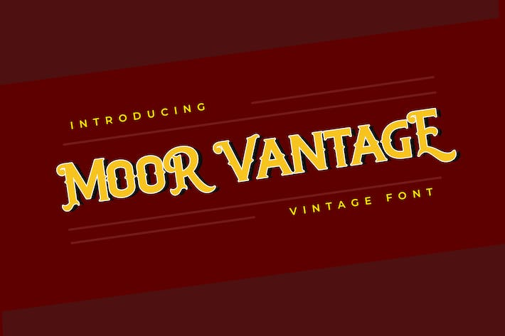 Thumbnail for MOOR VANTAGE Clásica Vintage Font Color blanco