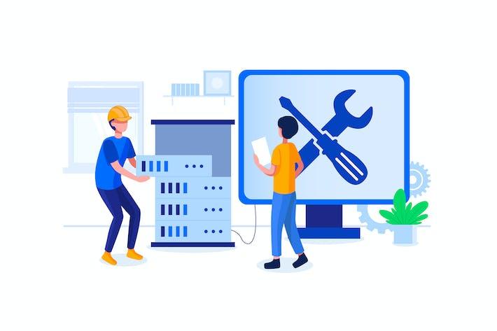 Thumbnail for Вектор иллюстрация инженера компьютерного оборудования