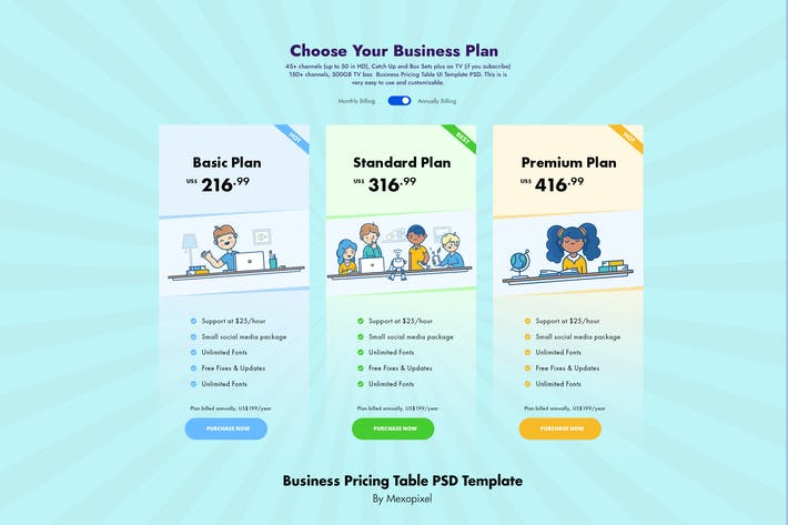Business Pricing Table PSD Template