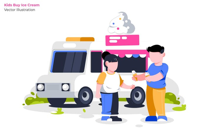 Thumbnail for Kids Buy Ice - Vector Illustration