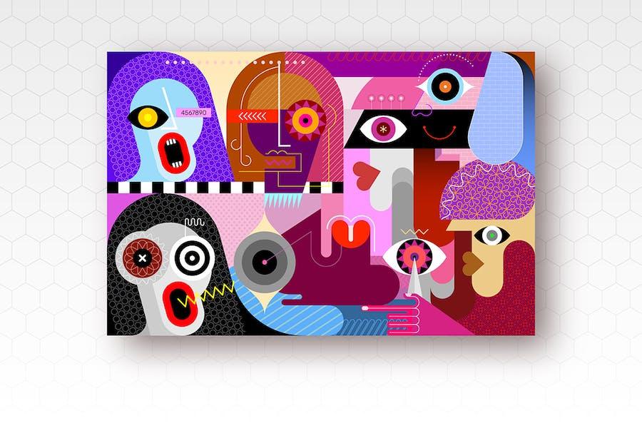 Ввектор иллюстрация группы семи человек