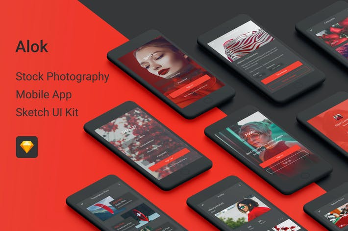 Cover Image For Alok - Stock Photography Sketch UI Kit