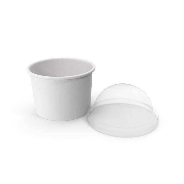 Taza de papel con tapa transparente para postre, 200 ml, abierto