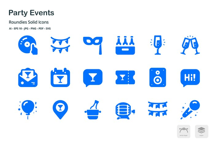 Thumbnail for Party Events Roundies Solid Glyph Icons