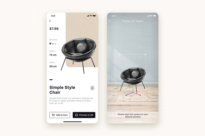 Thumbnail for Funiture Store mobile UI Concept