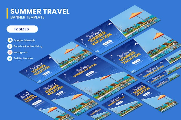 Cover Image For Travel Summer Google Adwords Banner Template