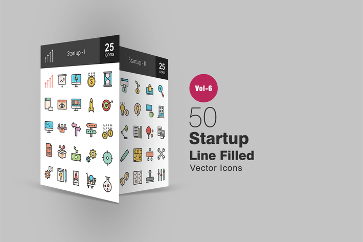 Thumbnail for 50 Startup Filled Line Icons