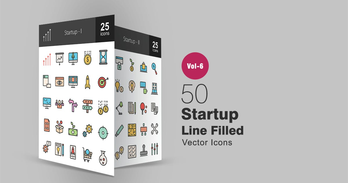 50 Startup Filled Line Icons by IconBunny