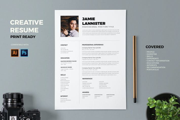 Cover Image For Resume / CV Template Pro
