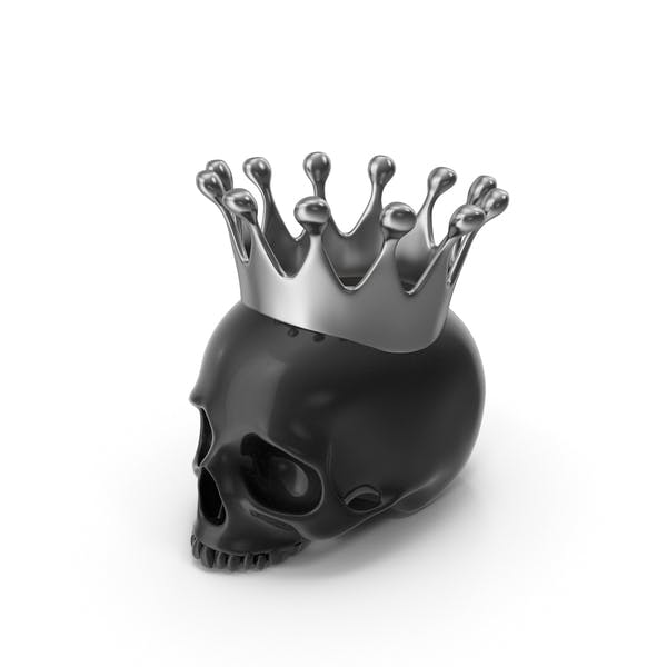 Black Skull Head Candle with Silver Crown