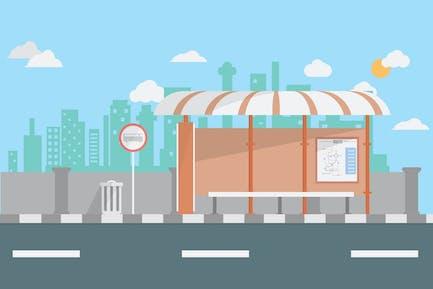 Bus Terminal - Illustration Background