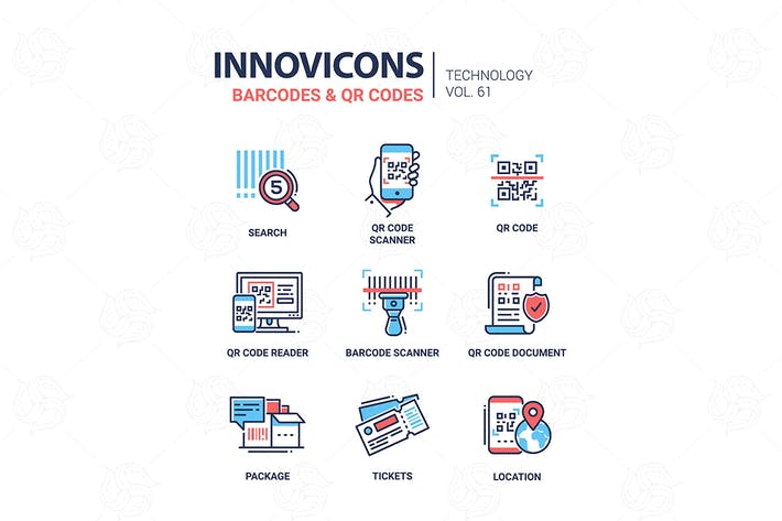 Thumbnail for Barcodes and QR codes - line design icons set