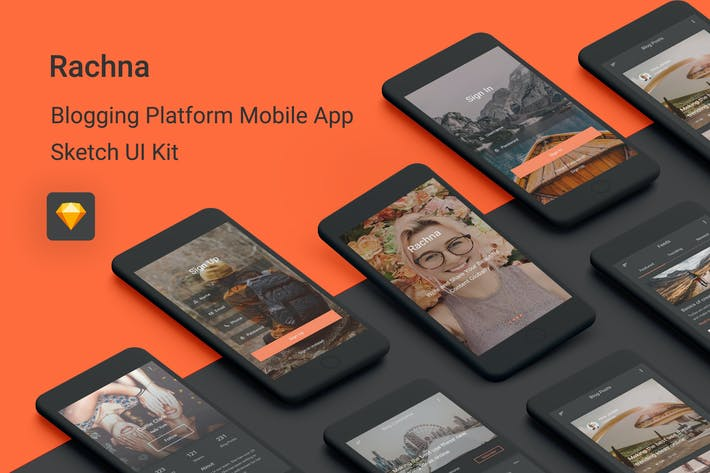 Thumbnail for Rachna - Blogging Platform Sketch UI Kit