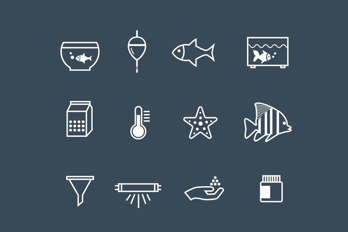 Thumbnail for 12 Aquarium and Fish Icons