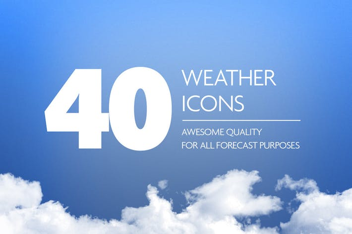 Thumbnail for 40 Weather Forecast Icon Set