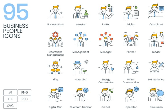 Thumbnail for 95 Business People Icons