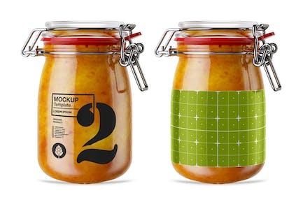 Vintage Orange Jam Jar Mockup