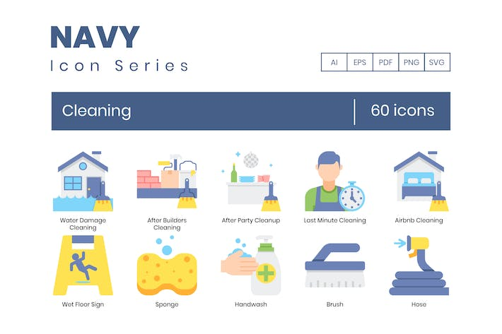 Thumbnail for 60 Cleaning Icons | Navy Series