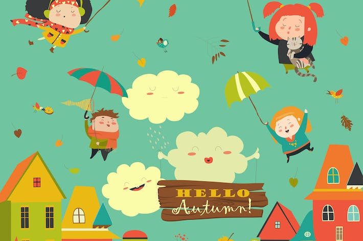 Thumbnail for Happy kids flying with umbrellas under the city.