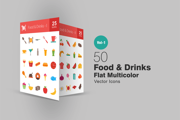 Cover Image For 50 Food & Drinks Flat Multicolor Icons