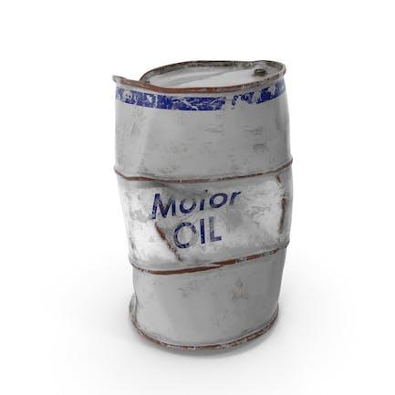 Damaged Motor Oil Barrel