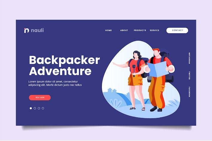 Thumbnail for Backpacker Adventure Web Header PSD und AI Vektor