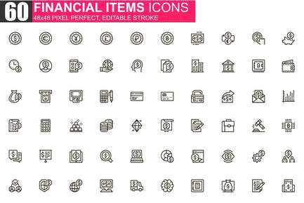 Financial Items Thin Line Icons Pack