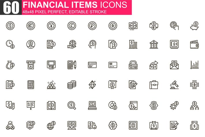 Thumbnail for Financial Items Thin Line Icons Pack