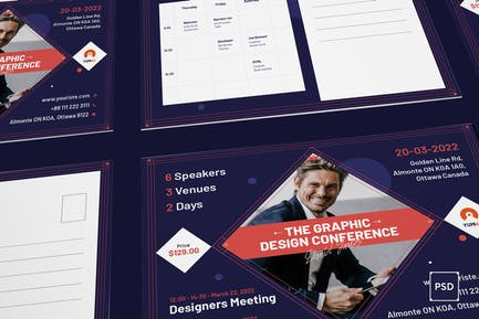 Conference Postcard PSD Template