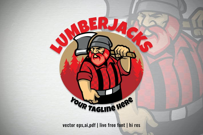 Thumbnail for cartoon Lumberjack character logo