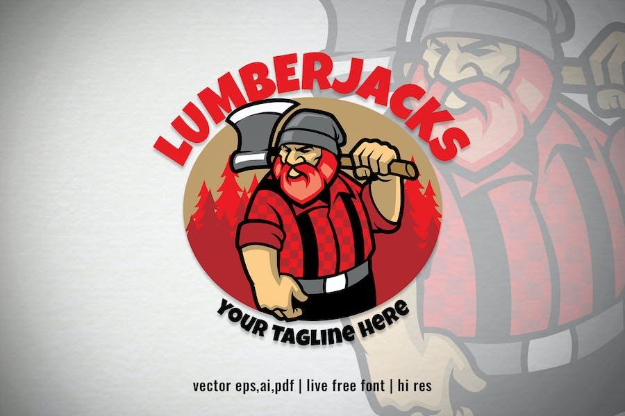 cartoon Lumberjack character logo