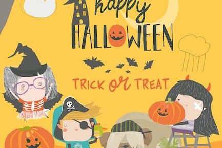 Смешные дети носят в костюмах Хэллоуина.