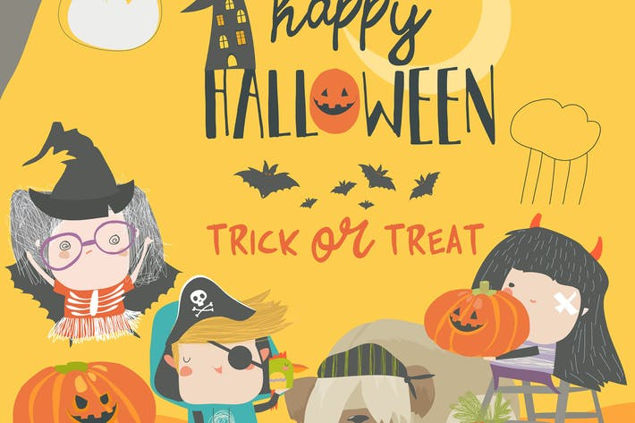 Thumbnail for Funny children wearing in Halloween costumes.