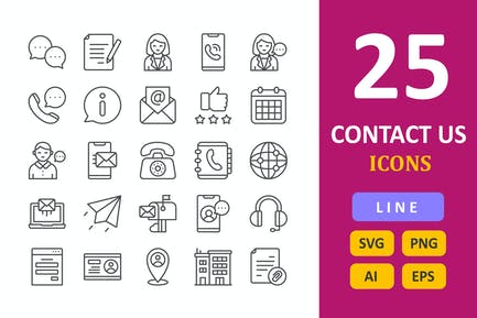 25 Contact Us Icons -  Line