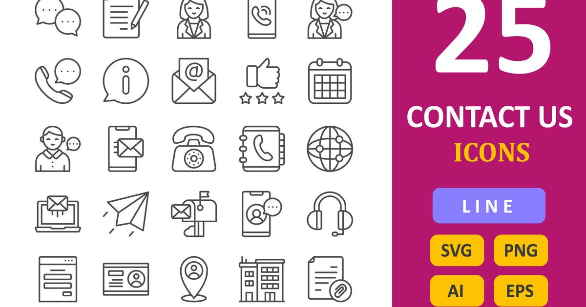 Download 25 Contact Us Icons -  Line by vectorizone