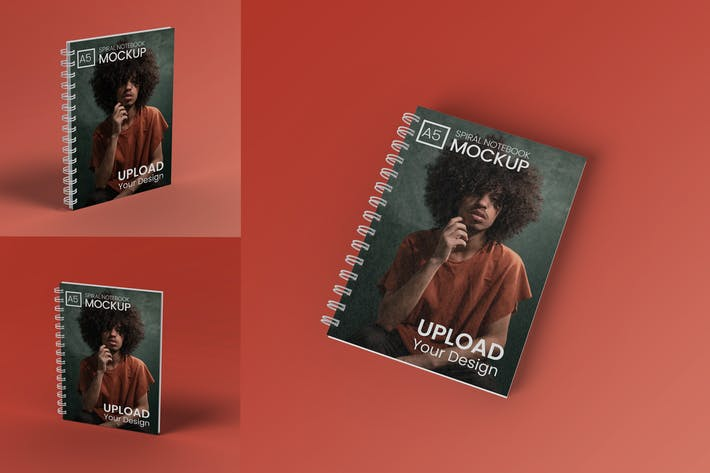 Thumbnail for A5 spiral notebook Mockup