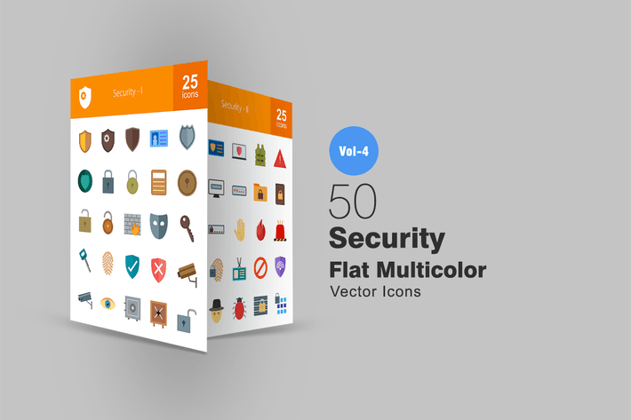 Thumbnail for 50 Security Flat Multicolor Icons