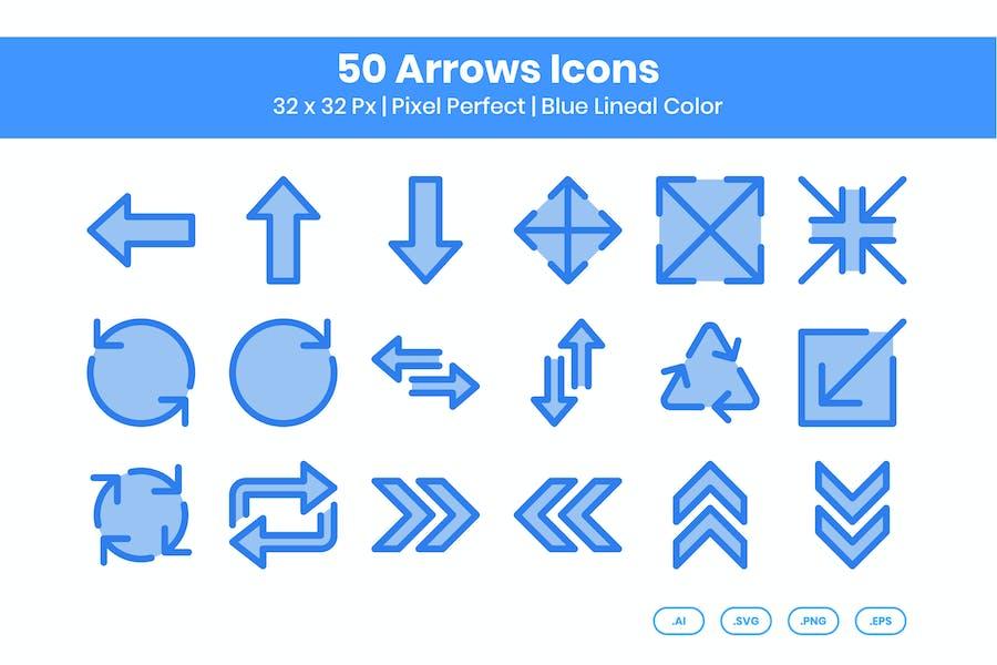 Conjunto de Íconos de 50 flechas - Color lineal azul