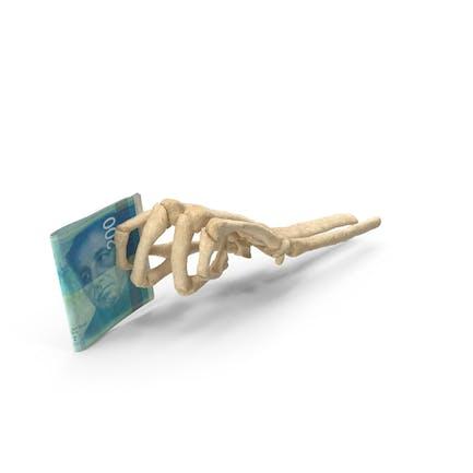 Mano esqueleto con 200 billetes de shekel israelí